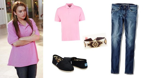 pink oversized polo shirt with blue jeans