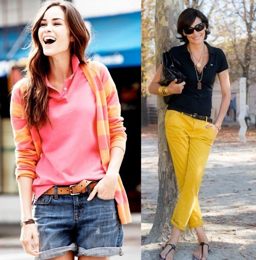 pink and yellow striped cardigan with blue denim shorts with belt