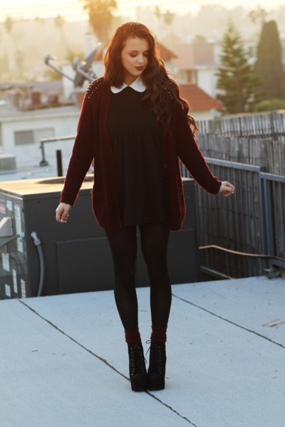 black dress with collar and burgundy cardigan