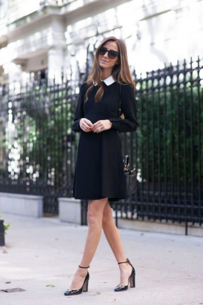 black dress with long sleeve collar and pointed toe heels with ankle straps