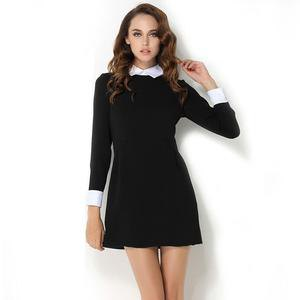 black and white long-sleeved mini dress with collar
