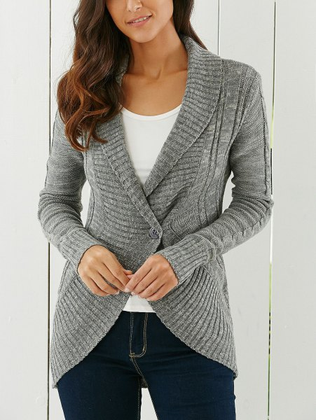 gray cardigan with a shawl collar and white t-shirt with a scoop neck and dark jeans