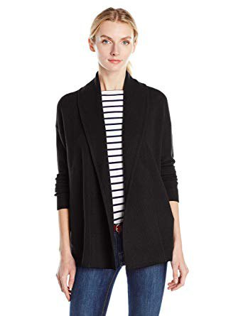 black scarf cardigan with striped crew neck t-shirt