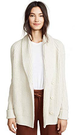 white, torn cardigan with a round neckline
