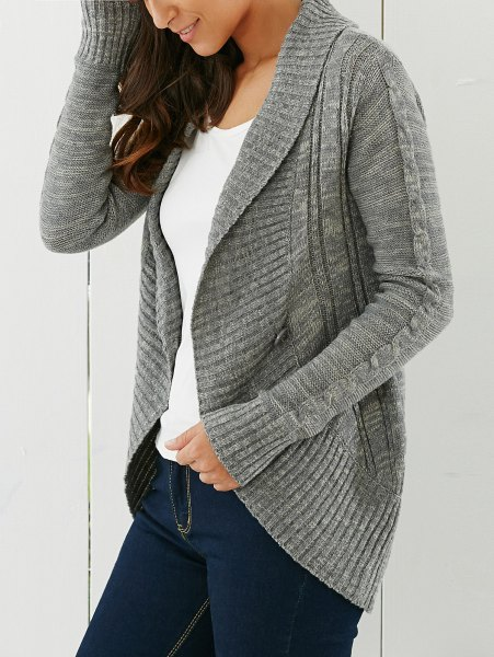gray cardigan with a shawl collar and dark blue skinny jeans
