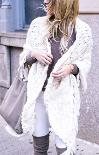 white cable knit sweater with over the knee boots