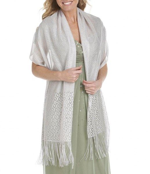 white fringed scarf sweater with blushing pink chiffon dress