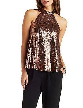 rose gold sequin halter top with black, slim-cut dress pants