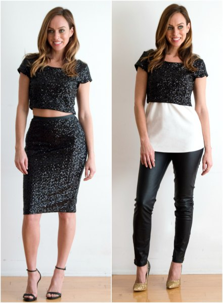 black, sparkling crop top with matching midi skirt