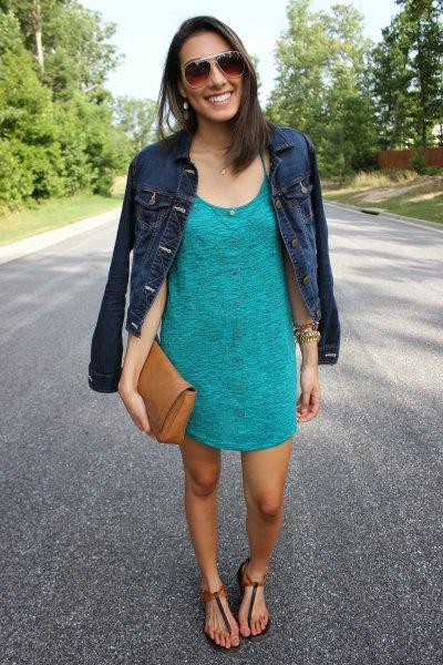 gray t-shirt dress with dark blue denim jacket