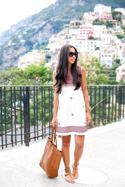 white and black, tribal printed shift dress with thong sandals