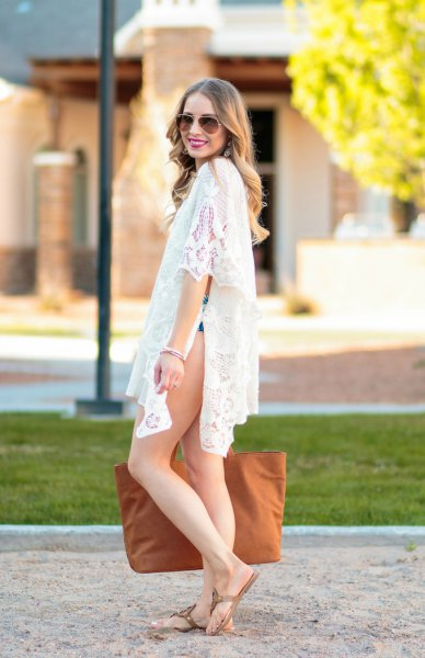 white lace slit mini dress with thong sandals