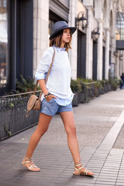 white torn sweater with blue denim shirt and shorts