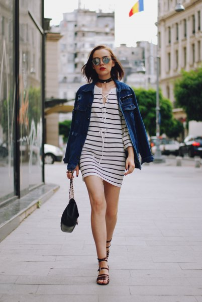 black and white striped mini dress with blue denim jacket and collar