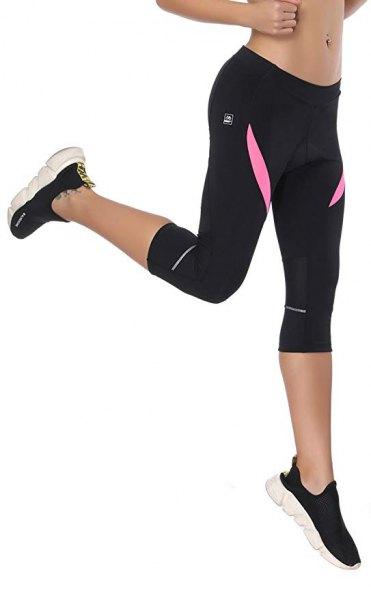 black running pants with pink crop top
