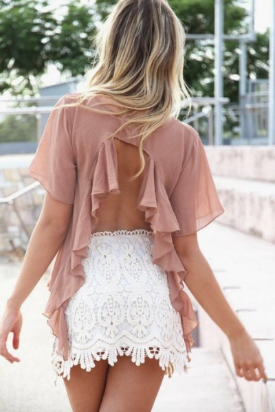 Blush pink chiffon neckline at the back with white lace mini skirt