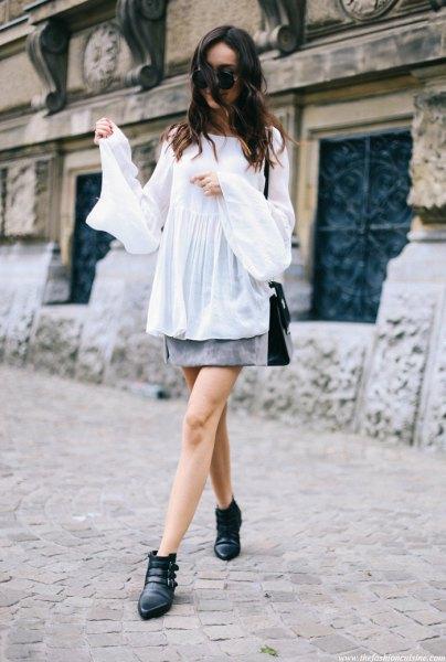 white chiffon long sleeve blouse with gray mini skirt