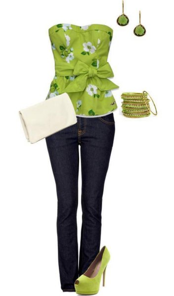 lime green and white knotted tube top with floral pattern and dark skinny jeans