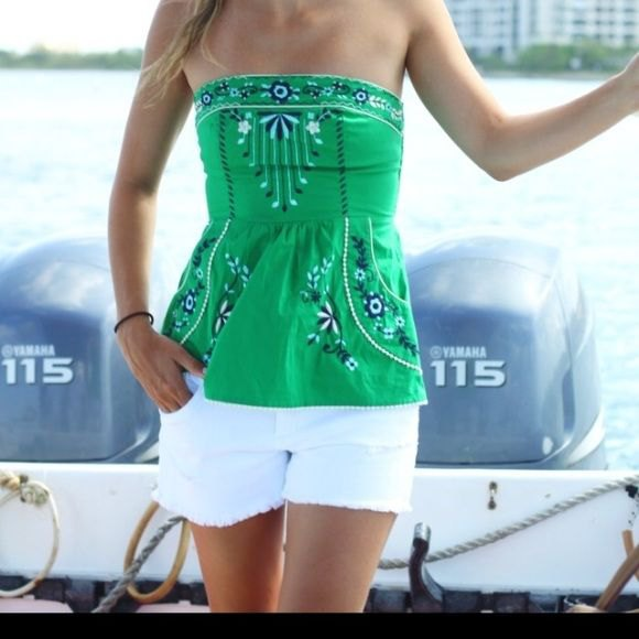 green tribal tube top with white mini shorts