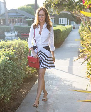 white blouse with buttons and black striped flared mini skirt
