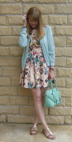 sky blue cardigan with floral printed mini dress and gold sandals