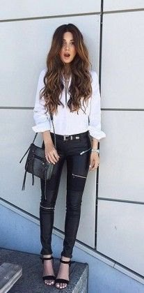 white blouse with buttons, black biker pants and open toe heels with ankle straps