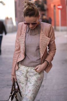 Light pink leather jacket with spike and chiffon blouse