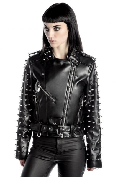 barbed moto jacket with leather gaiters