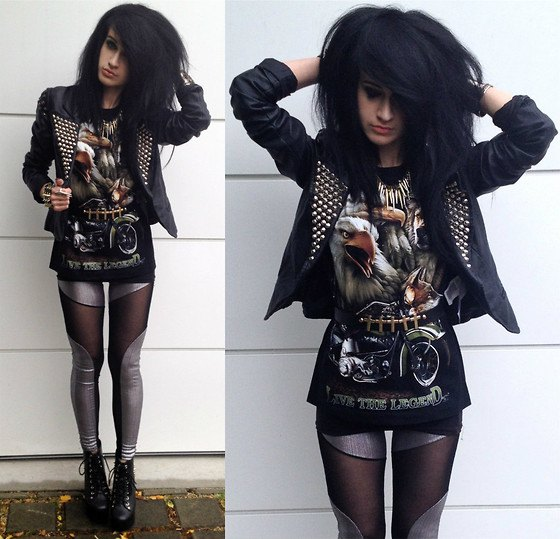 Leather jacket with graphic tunic t-shirt and silver leggings