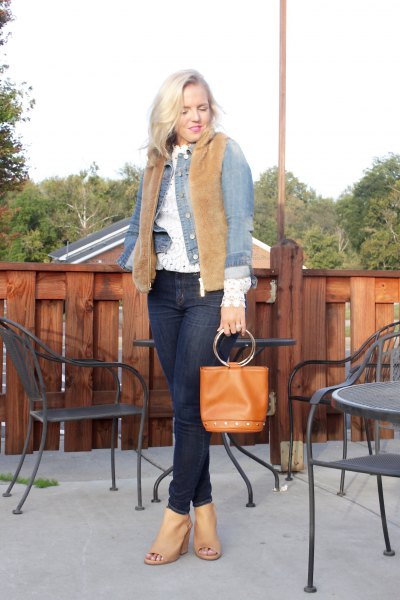brown sherpa vest with blue denim jacket and open toe heels