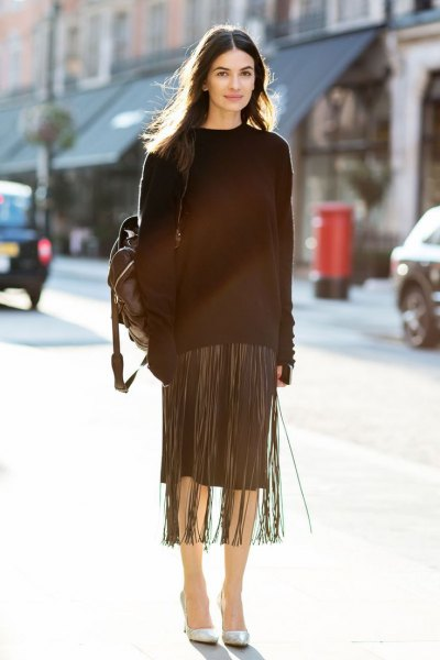 black fringe maxi sweater with knee-length skirt
