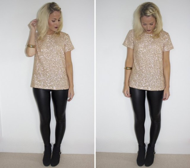 pink and silver sequin t-shirt with black leather leggings