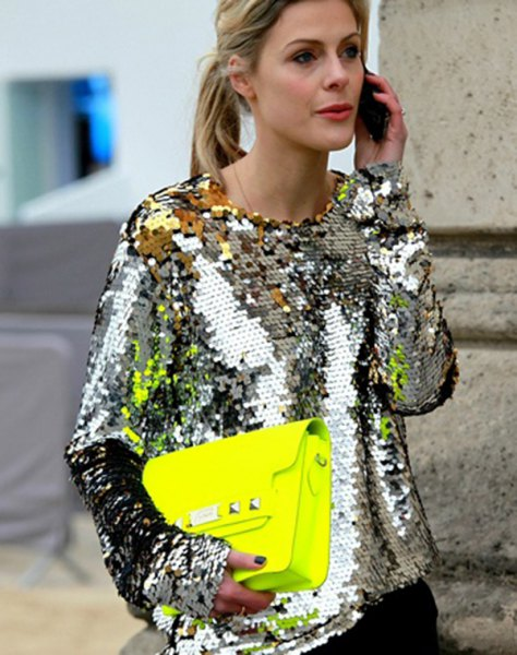 silver metallic sequin long sleeve blouse with black skinny jeans