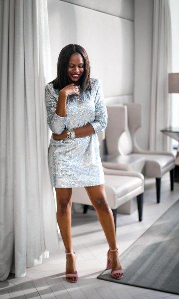 Sequin shirt dress with matching open toe heels