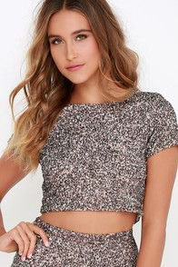 short silver t-shirt with sequins and matching mini skirt