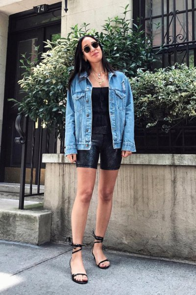 blue denim jacket with black cycling shorts