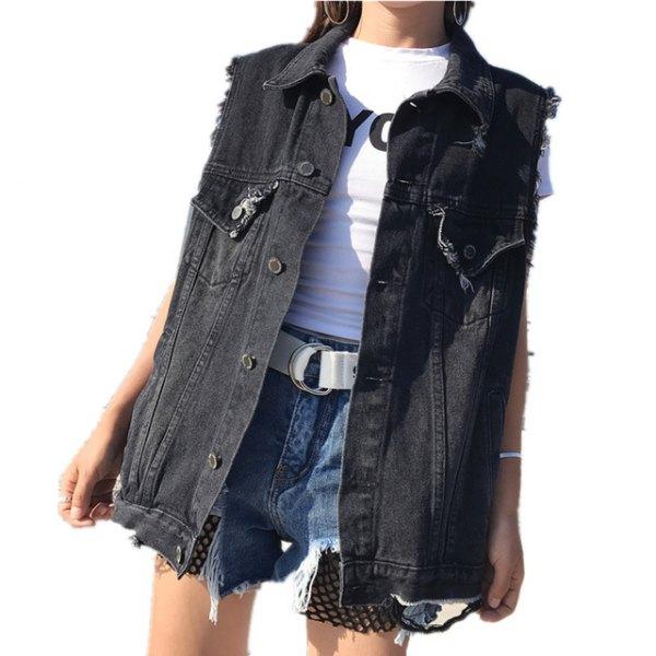 black oversized denim vest with white t-shirt and blue mini shorts