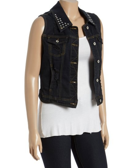 black denim vest with studded collar and white tunic tank top
