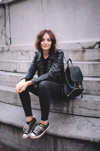 black leather jacket with studded collar, skinny jeans and low top