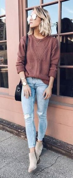 green ribbed sweater with blue ribbed jeans with cuffs
