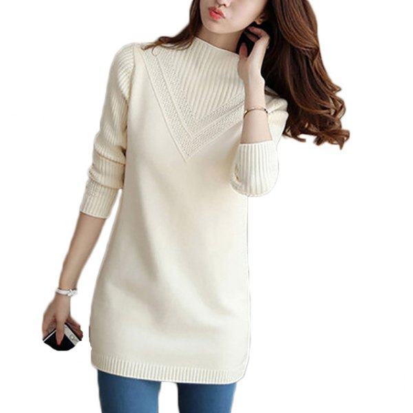 white, ribbed tunic sweater with mock neck and blue skinny jeans