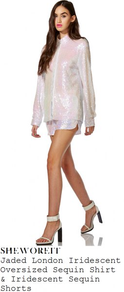 white, sparkling, oversized shirt with zip and matching mini shorts