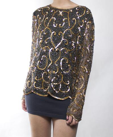 yellow and black embroidered sparkling shirt with mini skirt