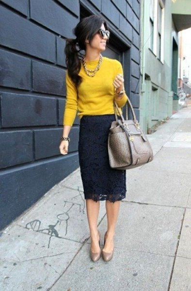 Mustard top with black lace midi dress