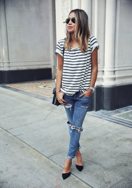 black and white striped short-sleeved T-shirt with torn jeans