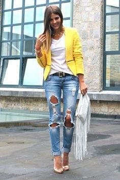 yellow blazer with blue destroyed boyfriend jeans