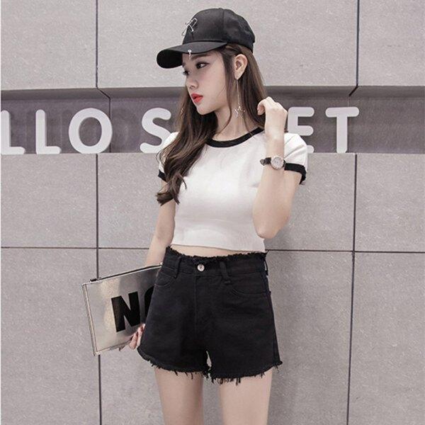 white, short-cut, tailored t-shirt with black denim shorts