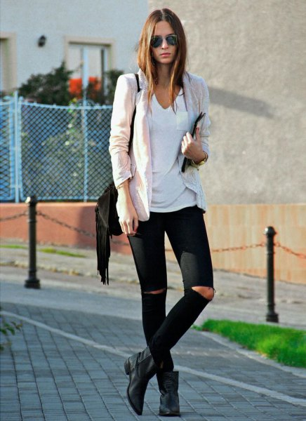 white t-shirt with v-neck, ivory black and boots