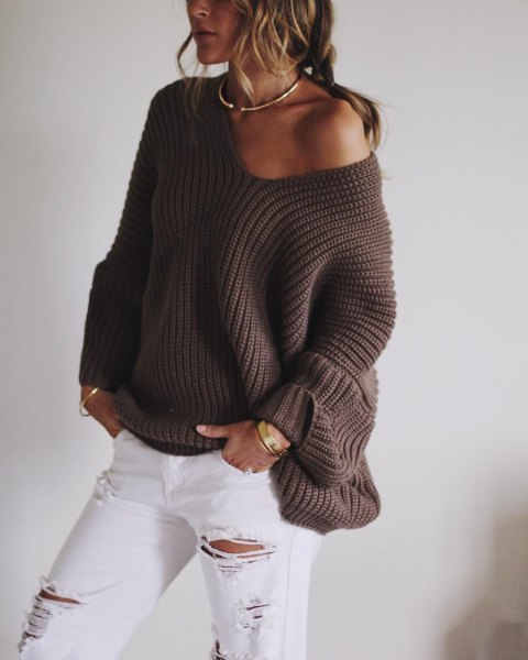 gray strapless sweater with white boyfriend jeans