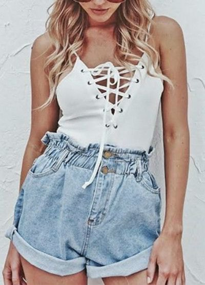 white spaghetti top with laces and blue jeans shorts with elastic waist